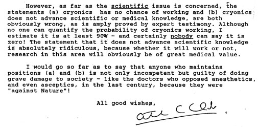 Arthur C. Clarke declaration on cryonics