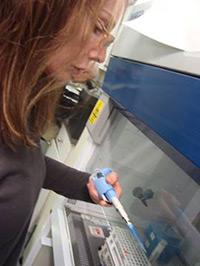 Natasha in the lab