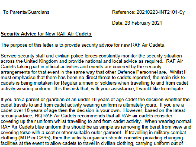 136 (Chipping Norton) Sqn – Security Letter