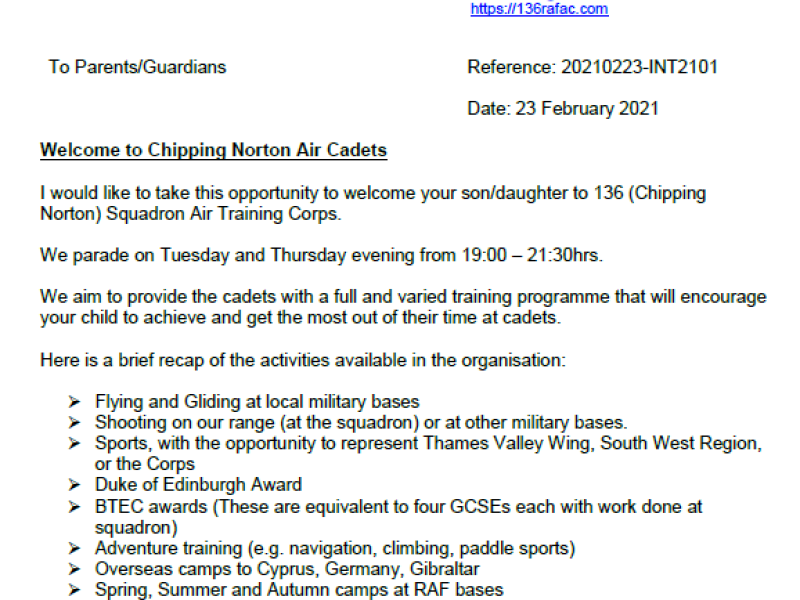 136 (Chipping Norton) Sqn – Welcome Letter