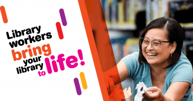Photo of a smiling female library worker with text that says Library workers bring your library to life!
