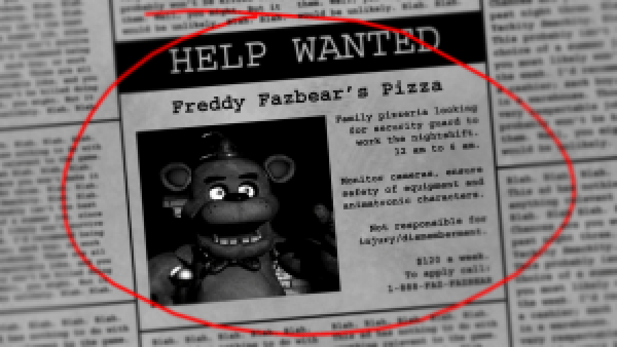 The Help Wanted page as seen in FNAF. Image from the official Wikia page.