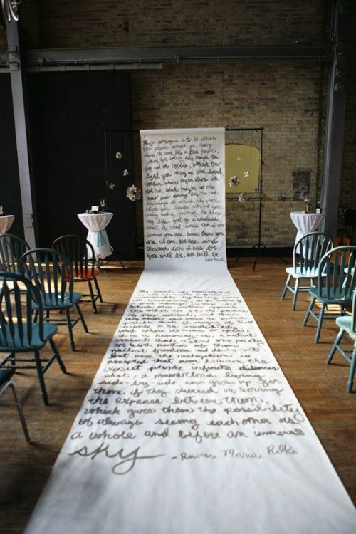 words on paper ceremony backdrop and aisle runner weddingfor1000.com