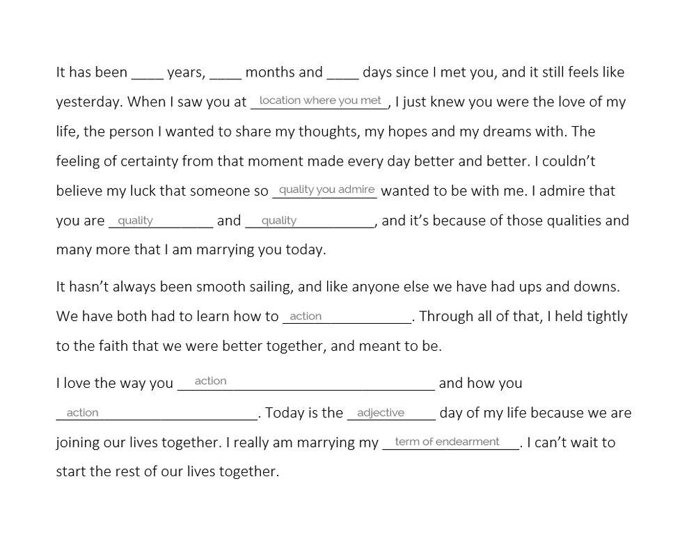 Write your own wedding vows the easy way wedding for 1000 write your wedding vows with our wedding vows worksheeet weddingfor1000 junglespirit Gallery
