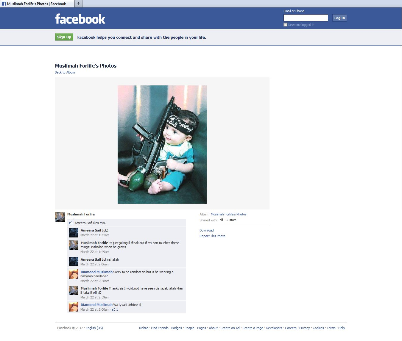 Muslimah Forlife baby jihadi Facebook screen capture - click for full size view