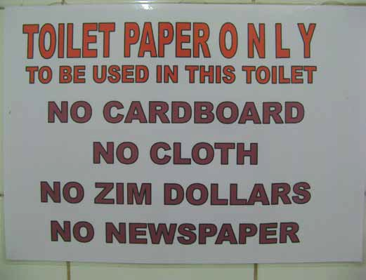 No Zimbabwe dollars to be used in this toilet
