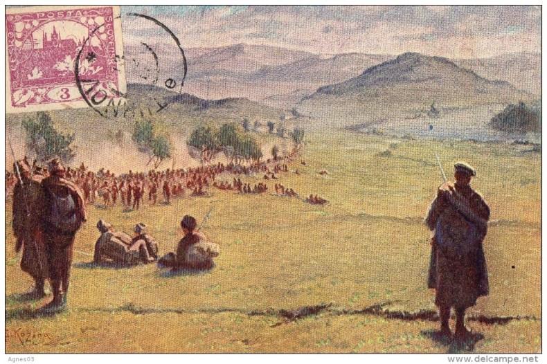 Légionnaires dans les monts Carpates 1915 dessin