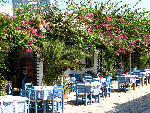 Village of Perissa on Santorini, Greece (via surrealplaces)
