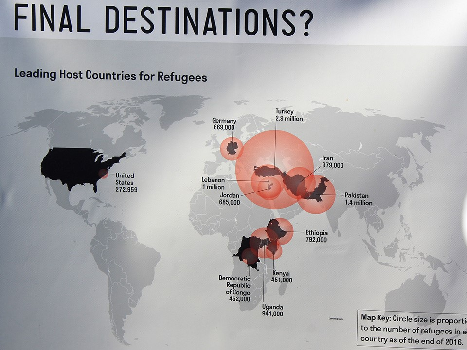 Map showing refugee settlements