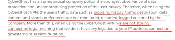 CyberGhost registration policy