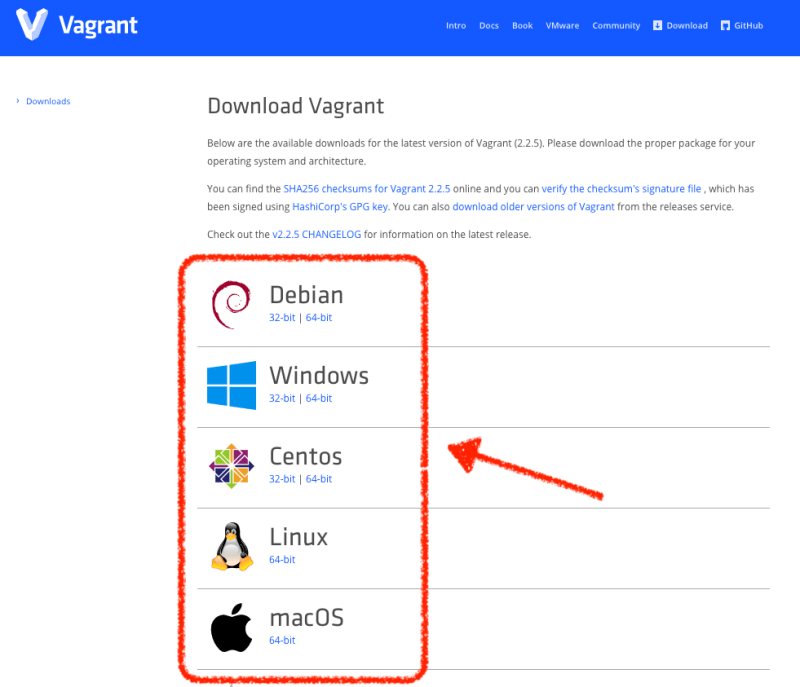 Download Vagrantから、自分の使用しているOSを選択
