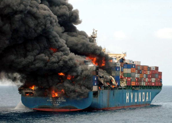 Container ship fire