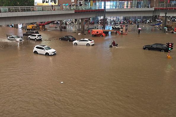 Flood waters in Zhengzhou after a heavy rainfall