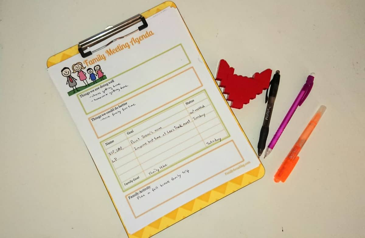 You can use my family meeting template at the end of this post to create your family meeting agenda. How To Have A Family Meeting Template Included