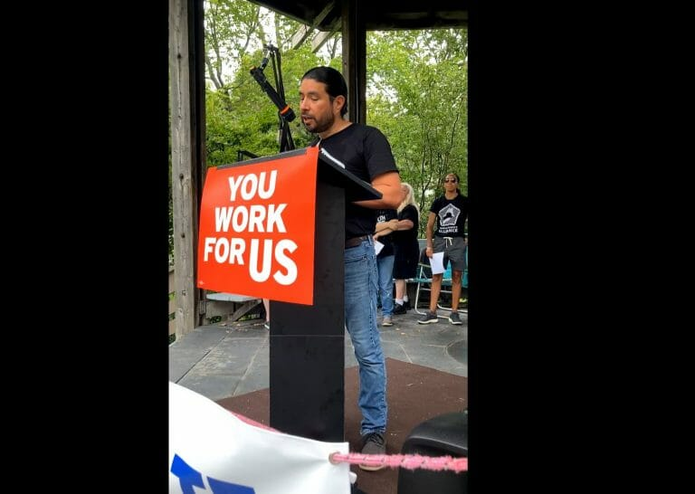 Rafael Macias speaks at a #SealTheDeal rally in Brunswick, Maine.