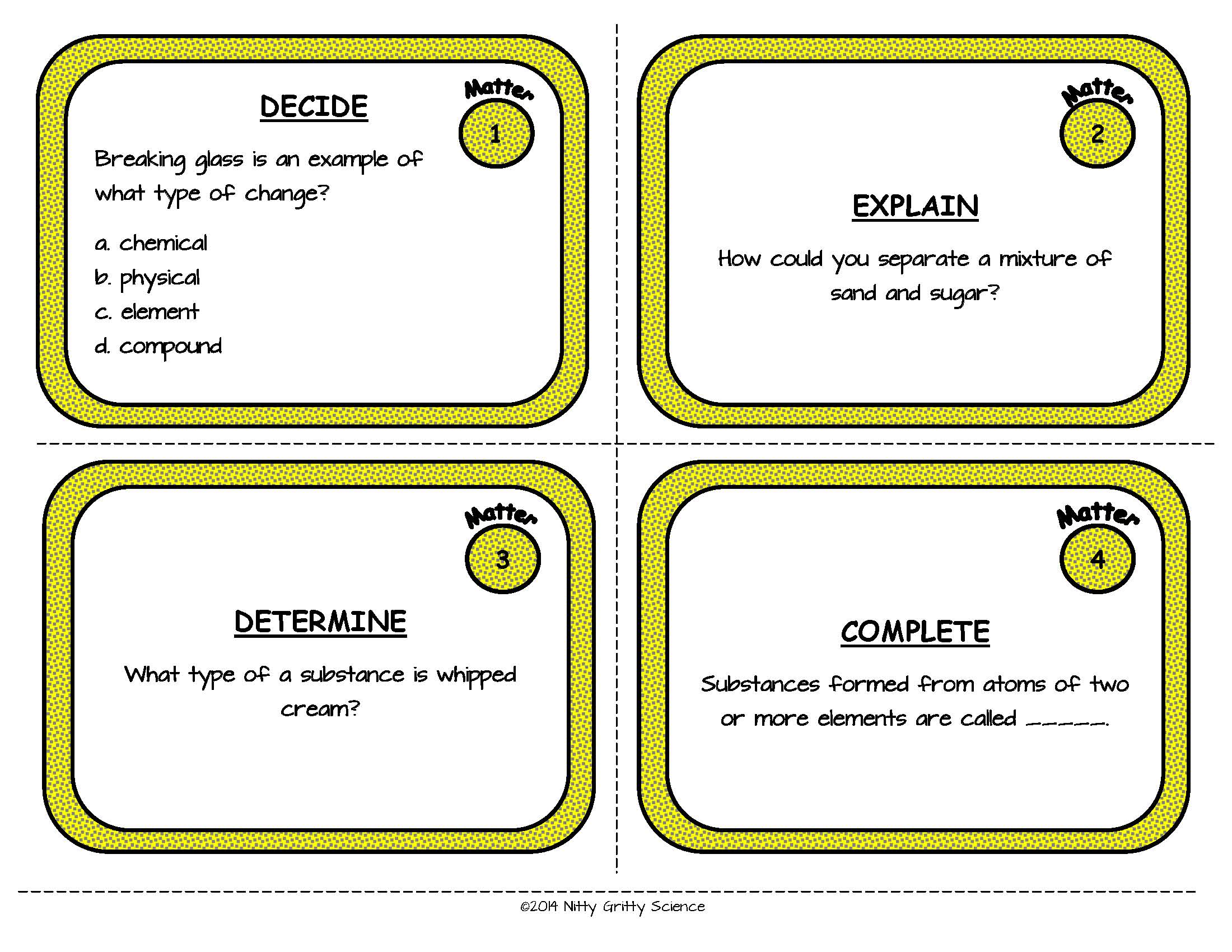 Matter Physical Science Task Cards