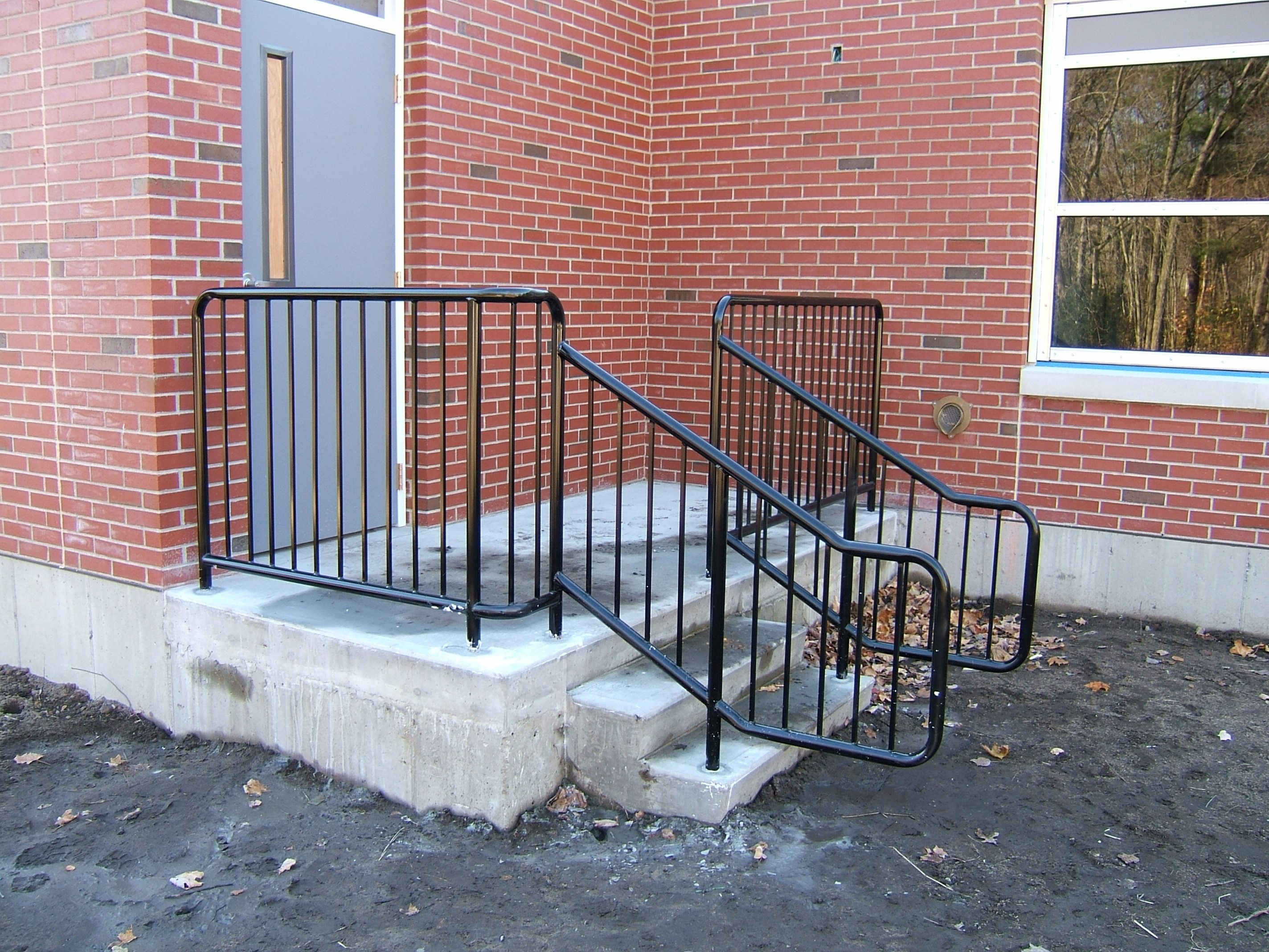Exterior Stair Railings Custom Metal Fences Custom Rail Tech | Commercial Handrails For Outdoor Steps | Simplified Building | Stair Treads | Porch | Front Porch | Custom