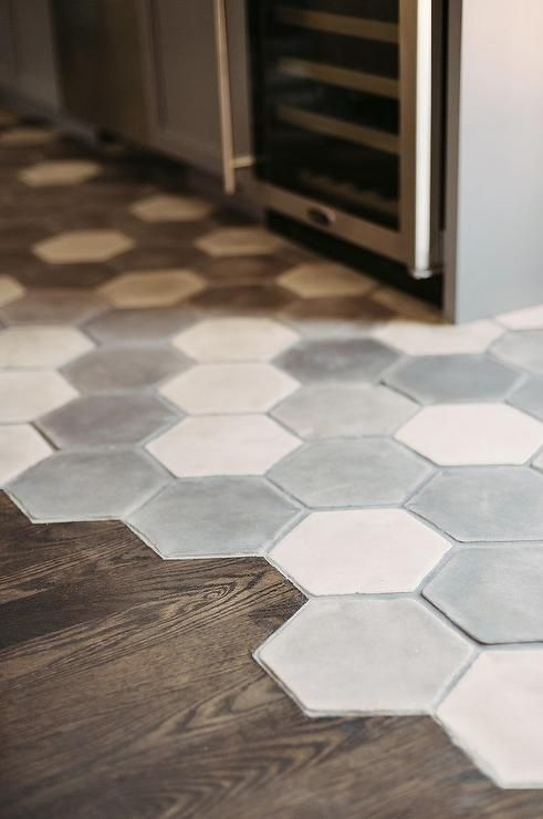 hexagon tiles transition into wood