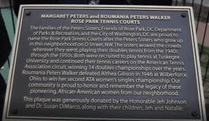 Plaque Honoring Peters Sisters at Rose Park Tennis Courts