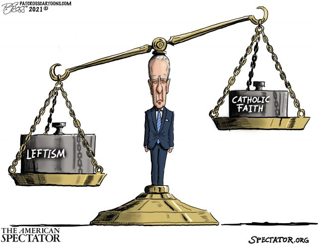 """The Biden Scale,"" editorial cartoon by Patrick Cross for The American Spectator, spectator.org, May 4, 2021."