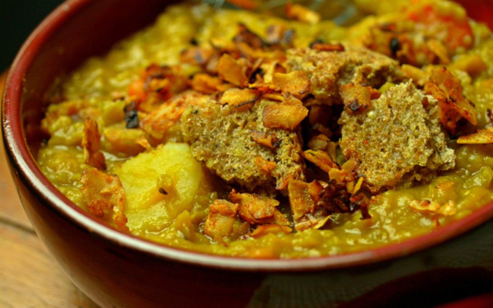 Slow-Cooked Split Pea Soup With Homemade Croutons and Coconut Bacon