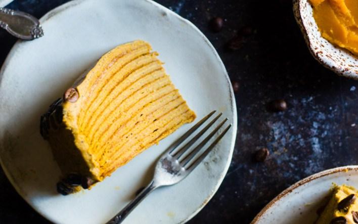 Pumpkin Spice Latte Crepe Cake