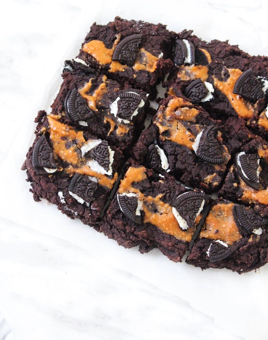 vegan ultimate oreo peanut butter brownies
