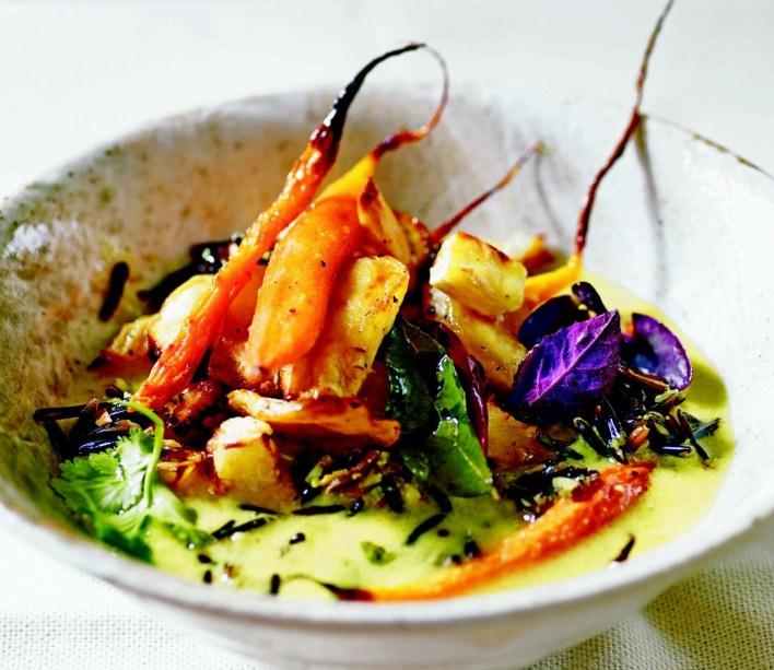 Vegan Spiced Turmeric Broth with Roasted Vegetables