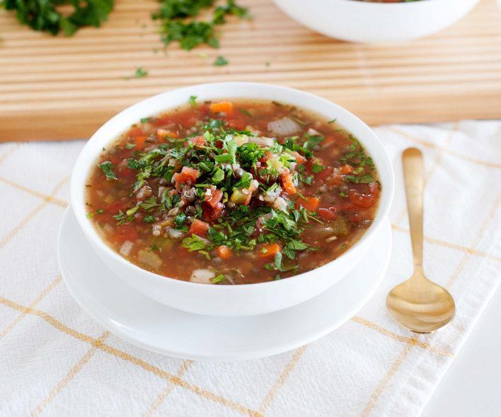 Mixed Lentil Quinoa Soup
