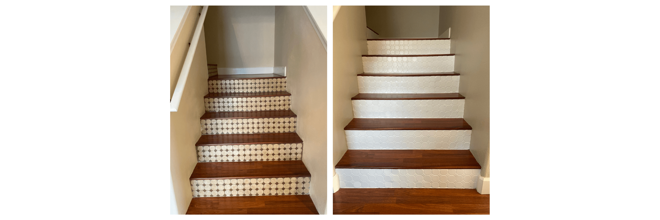 Ceramic Tile on Stairs Risers Painted