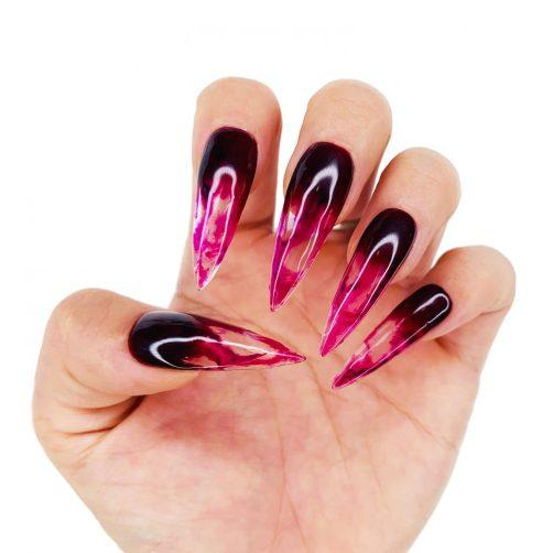 Dark bloody Halloween nails in stiletto shape