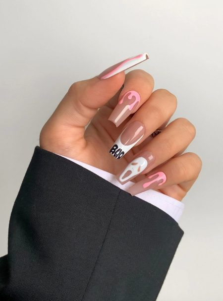 Pink Scream nails for Halloween with French tips