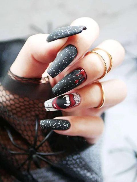 Matte black vampire nails for Halloween