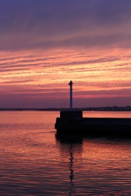 内浜堤防からの夕日4