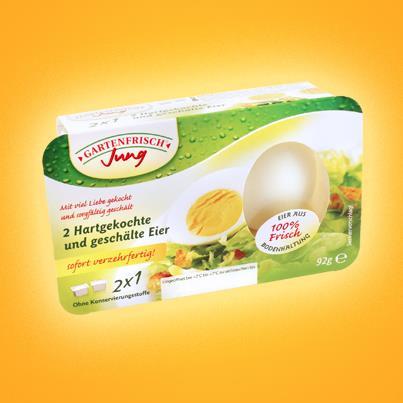 Eier geschält in Plastikfolie