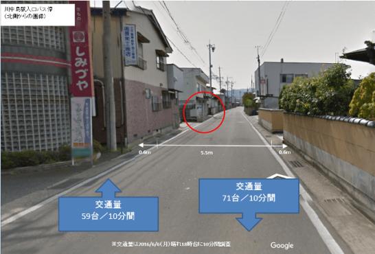 アルピコ作成資料より。川中島駅入口バス停の道路の幅員と交通量(18時台の調査)