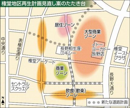 市側が提示している権堂地区再生計画見直し案のたたき台(信毎より)