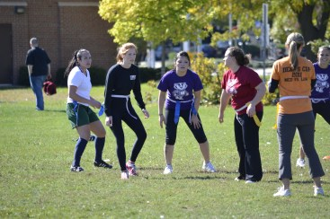 A group of law students participate in a flag football tournament as part of the annual Dean's Cup competition in 2013.