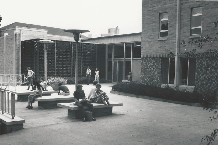 Students in front of the Law Building in 1963.