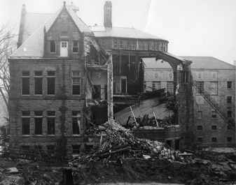 A view of the deconstruction of the original Law building.