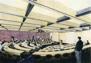 A proposed drawing of one of the Law School's new lecture halls (circa mid-1990s).