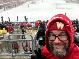 Mike Hall at Badgers homecoming game