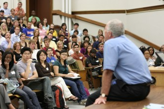 Professor at first-year students orientation.