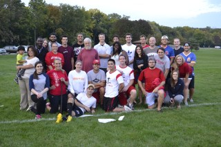 The Law School's Dean's Cup softball team pose for a photo during the tournament in 2013.
