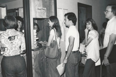 Students wait in line to buy books at the Law School's Bookmart.