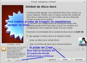 VirtualBox sin unidad de disco