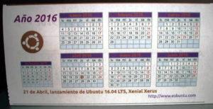 Calendario Ubuntero 2016 de esbuntu