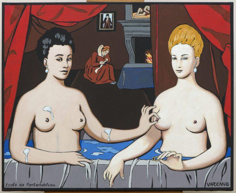 Femmes au bain, Gabrielle d4Estrée et sa soeur - Ecole de Fontainebleau vers 1595 - Cette toile exposée au Musée du Louvre à Paris est interprétée par Alex Varenne, peinture acrylique, pop-art érotique.