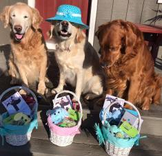 Trooper, Q & Bean with Easter baskets