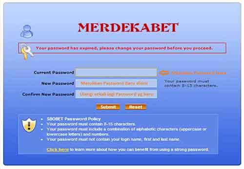 Ubah Password Baru SBOBET